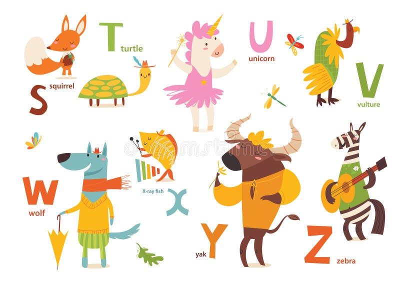 Partie d'ABC d'animaux avec les animaux et les lettres mignons de bande dessinée Lettres SZ illustration de vecteur