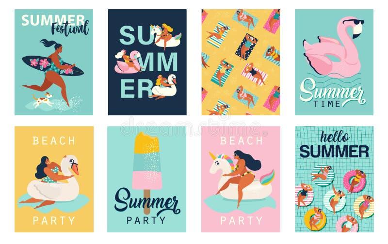 Partie d'?t? Bonjour affiches d'été dans le vecteur Rétro ensemble mignon d'affiches illustration de vecteur