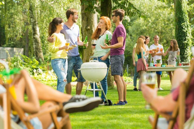 Partie de barbecue d'été en nature photographie stock libre de droits