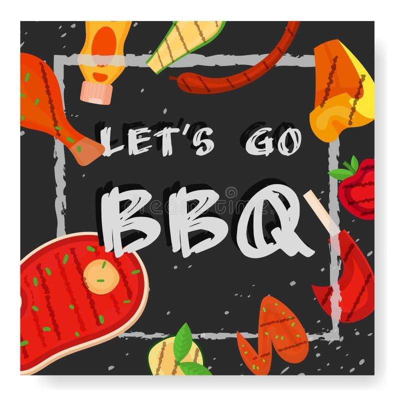 Partie de barbecue, menu, conception d'invitation BBQ illustration de vecteur