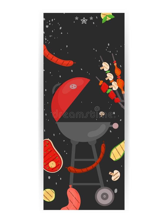 Partie de barbecue, menu, conception d'invitation BBQ illustration stock