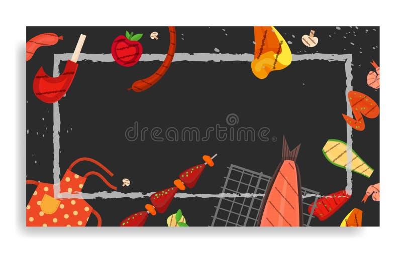 Partie de barbecue, menu, conception d'invitation BBQ illustration libre de droits