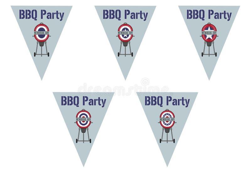 Partie de BBQ sur des drapeaux d'étamine de triangle illustration libre de droits