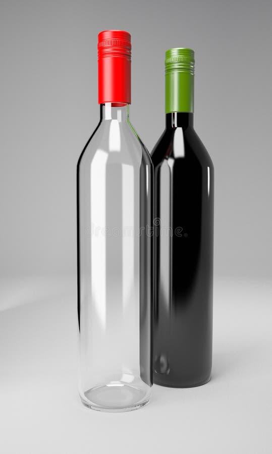 Partie de boissons d'alcool de vin de bouteilles en verre image libre de droits