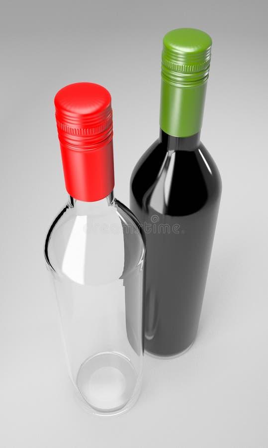 Partie de boissons d'alcool de vin de bouteilles en verre photographie stock libre de droits