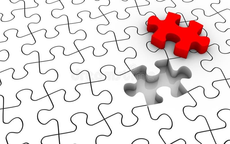Partie de bout de puzzle denteux illustration stock