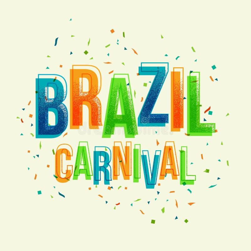 Partie de carnaval du Brésil avec la lettre colorée illustration de vecteur