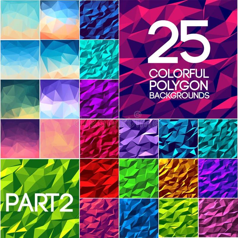 Partie de concept polygonal lumineux de milieux d'ensemble de couleurs de collection Conception d'illustration de vecteur illustration de vecteur