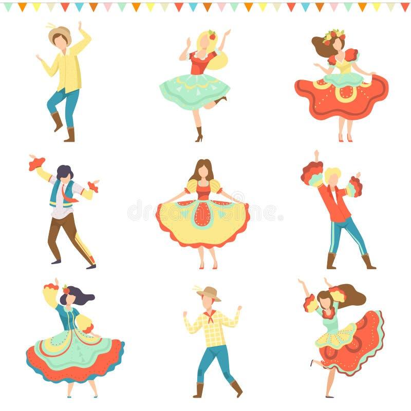 Partie de Festa Junina de Brésilien, hommes heureux et femmes dansant à l'illustration latine de vecteur d'ensemble de carnaval d illustration libre de droits