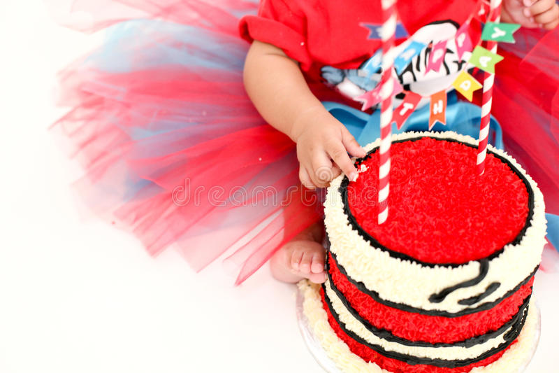 Partie de fracas de gâteau de bébé image stock