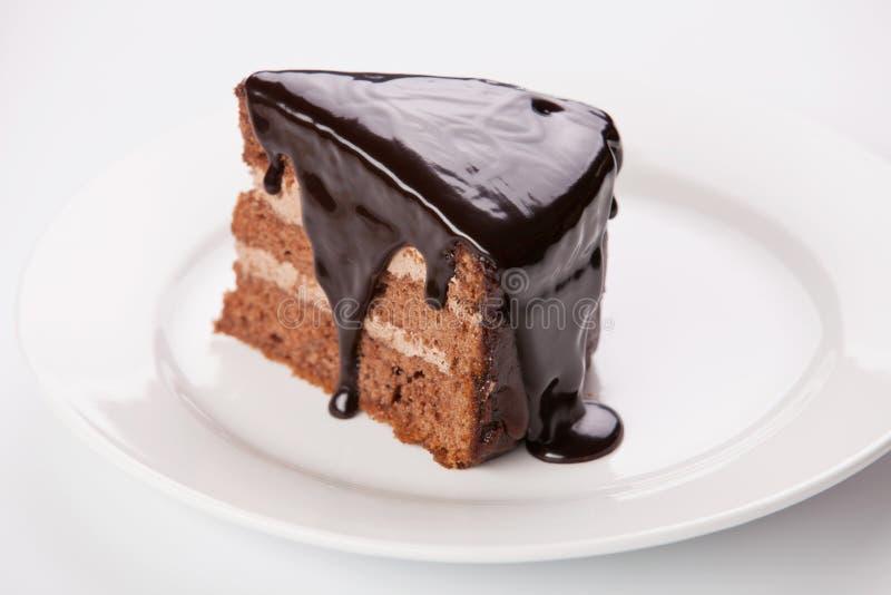 Partie de gâteau de chocolat photo stock