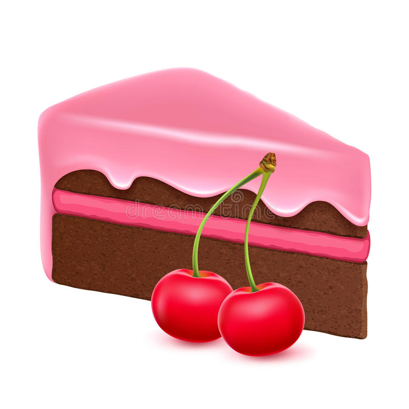 Partie de gâteau de chocolat avec la cerise illustration libre de droits