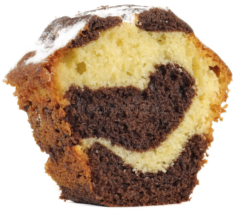 Partie de gâteau mousseline de vanille et de chocolat photos stock