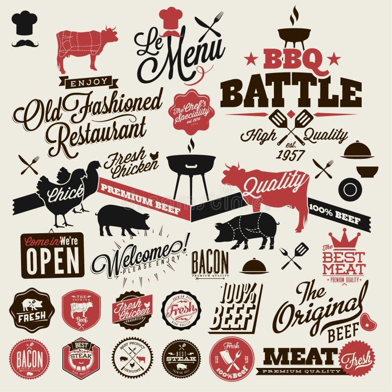 Partie de gril de BBQ de vintage illustration libre de droits