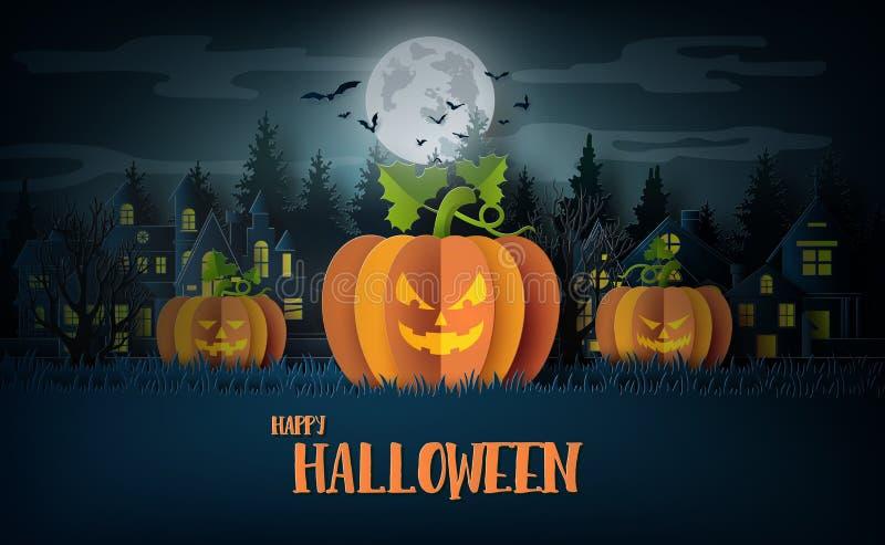 Partie de Halloween avec les potirons effrayants illustration libre de droits