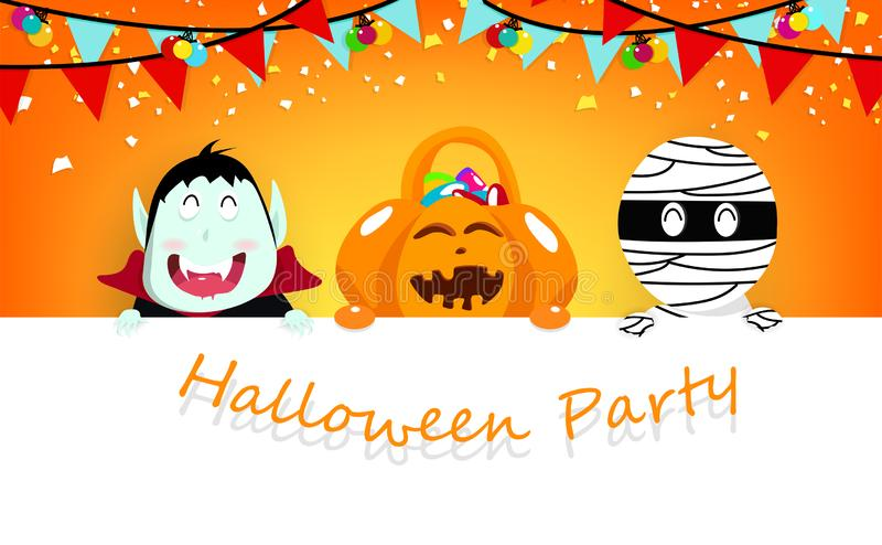 Partie de Halloween, confettis tombant, personnage de dessin animé de vampire, de potiron et de maman avec le caractère mignon, a illustration stock