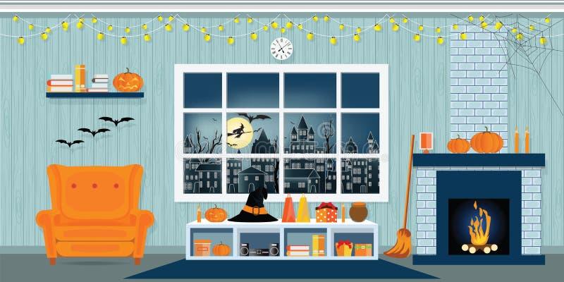 Partie de Halloween dans le salon illustration de vecteur