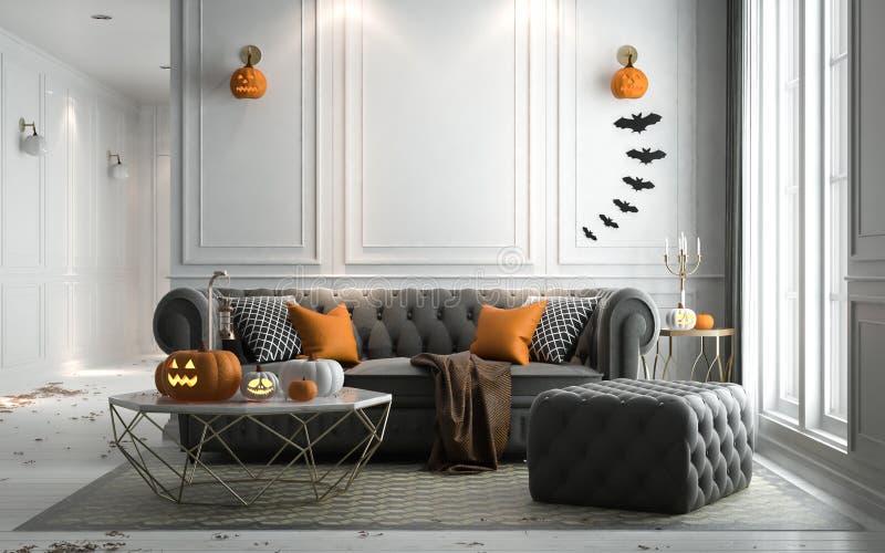Partie de Halloween dans le salon - décorations avec des lanternes et p illustration libre de droits