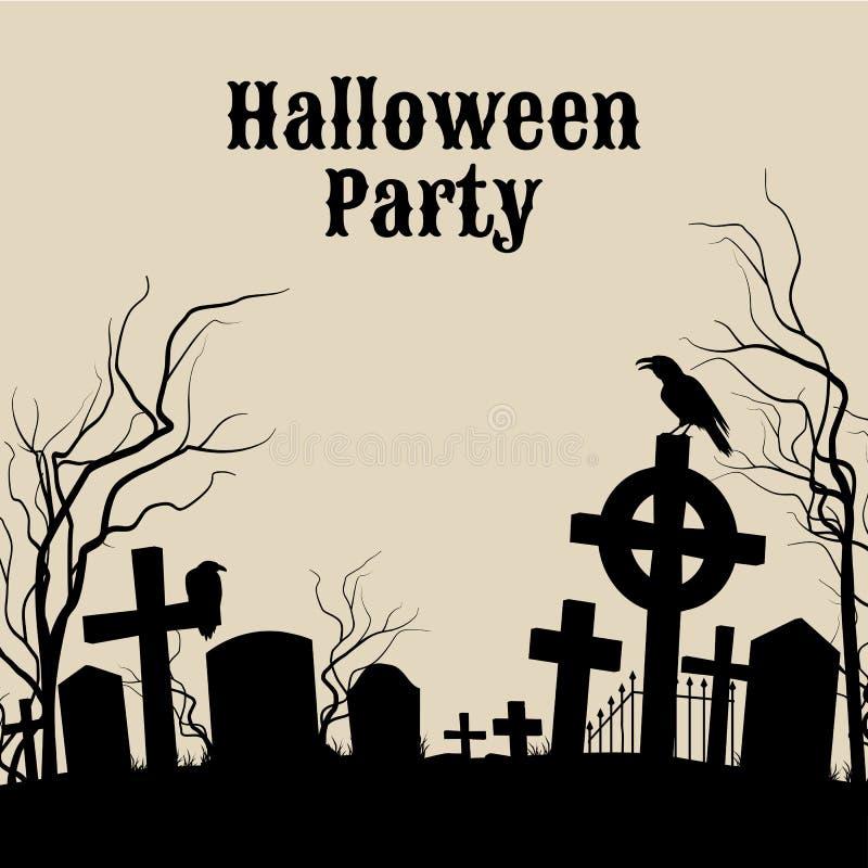 Partie de Halloween sur un cimetière fantasmagorique, rétro affiche illustration libre de droits