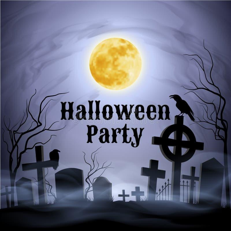 Partie de Halloween sur un cimetière fantasmagorique sous la pleine lune illustration de vecteur
