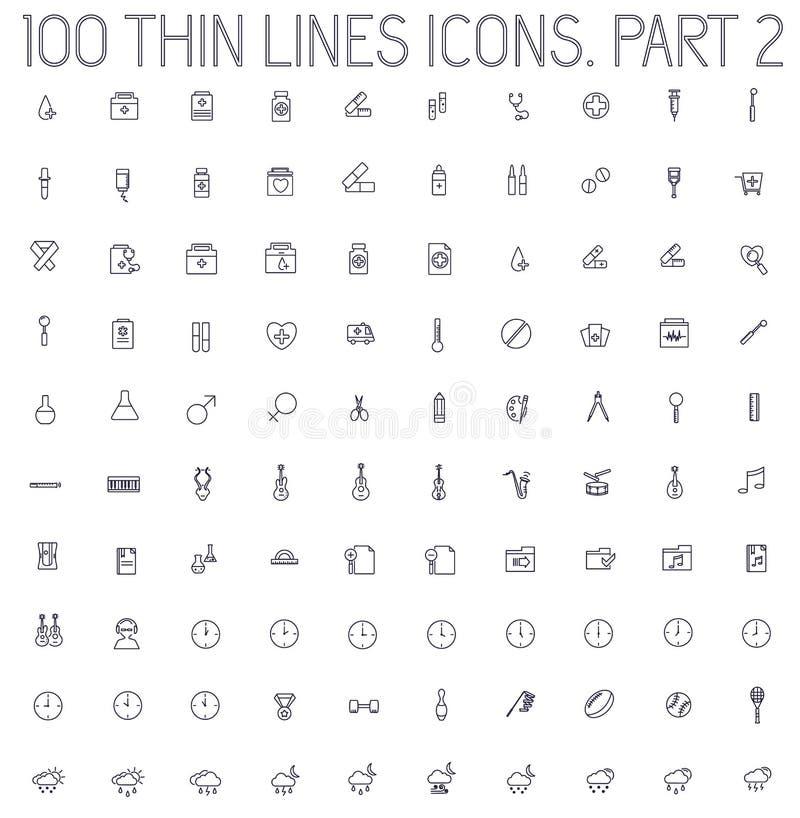 Partie de lignes minces ensemble de collection d'icône de pictogramme illustration de vecteur