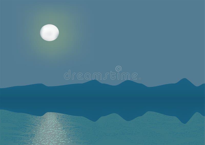 Partie de mer de nuit illustration de vecteur