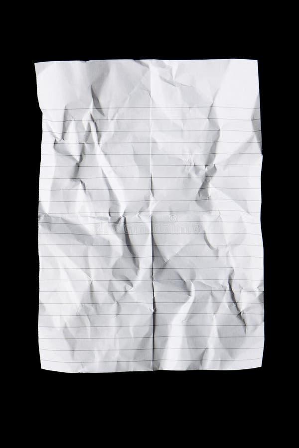 Partie de papier froissée et pliée photographie stock