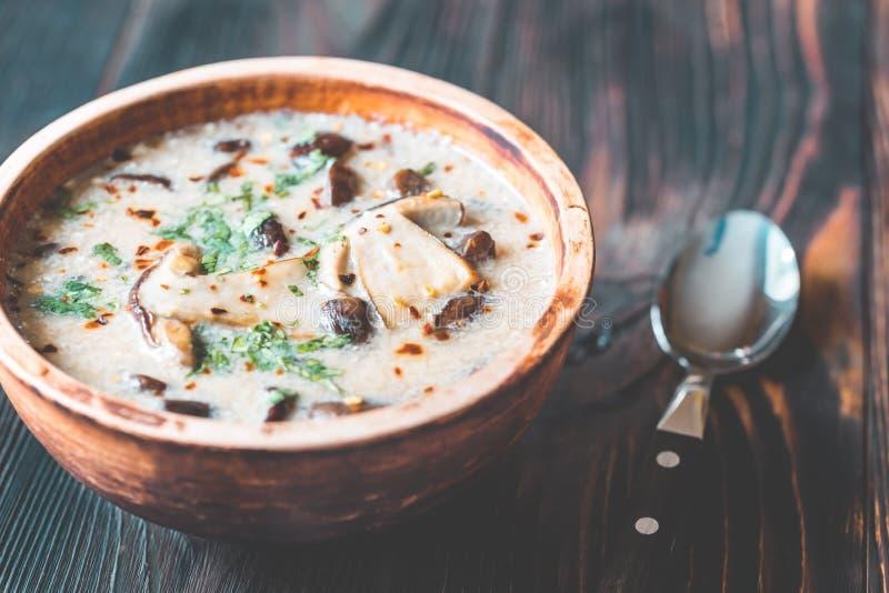 Partie de soupe à champignons crémeuse image libre de droits