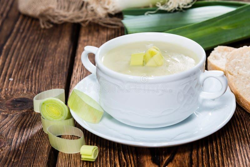 Partie de soupe à poireau photographie stock libre de droits