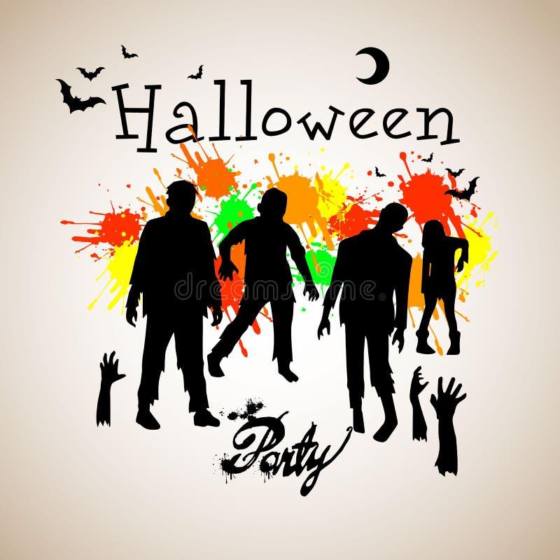 Partie de zombi Halloween, sorcière, chapeau, vacances, noir, silhouette, bande dessinée, nuit photographie stock libre de droits