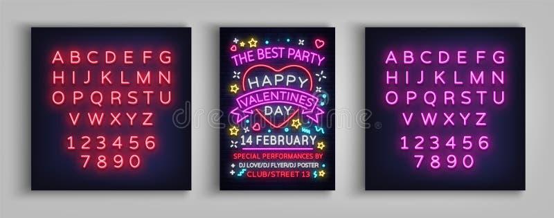 Partie heureuse d'affiche de jour du ` s de Valentine Typographie au néon de calibre de conception, enseigne au néon, bannière lu illustration stock