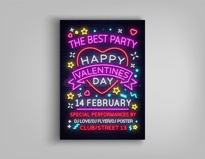 Partie heureuse d'affiche de jour du ` s de Valentine Typographie au néon de calibre de conception, enseigne au néon, invitation  illustration stock
