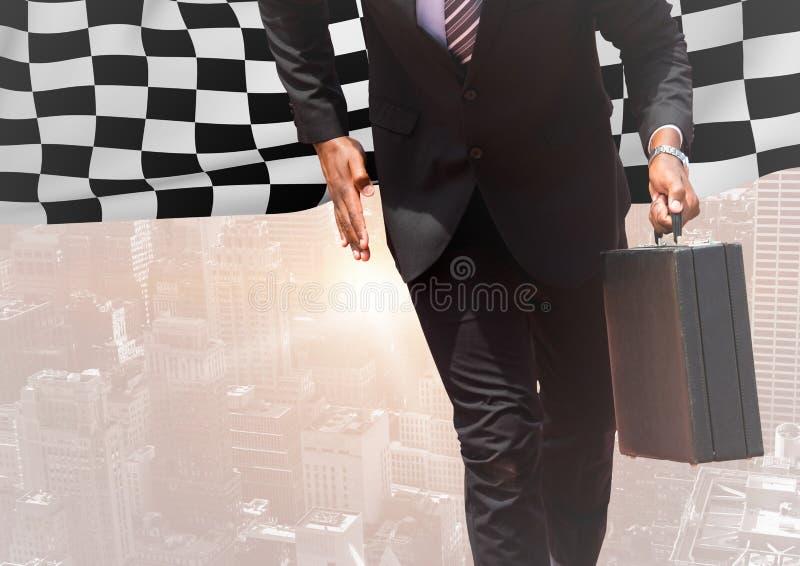 Partie inférieure du corps d'homme d'affaires contre l'horizon avec la fusée et le drapeau à carreaux photos libres de droits