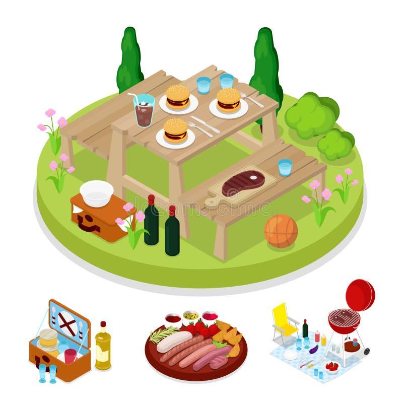 Partie isométrique de pique-nique de BBQ Camp de vacances d'été Hamburgers grillés de viande illustration stock