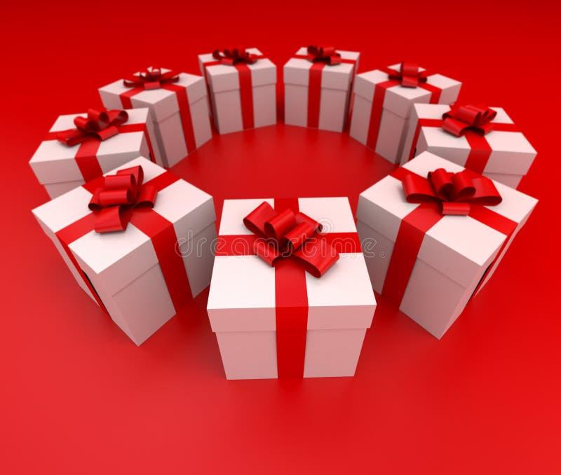 Partie latérale rouge et blanche de cercle de cadres de cadeau illustration stock