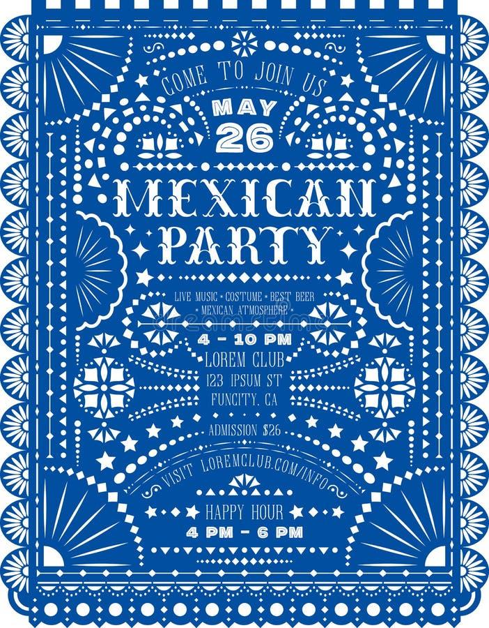 Partie mexicaine annonçant l'affiche avec la conception coupée de papier illustration stock