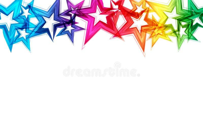 Partie o de célébration de confettis d'éclat de scintillement de dispersion d'arc-en-ciel d'étoiles illustration de vecteur