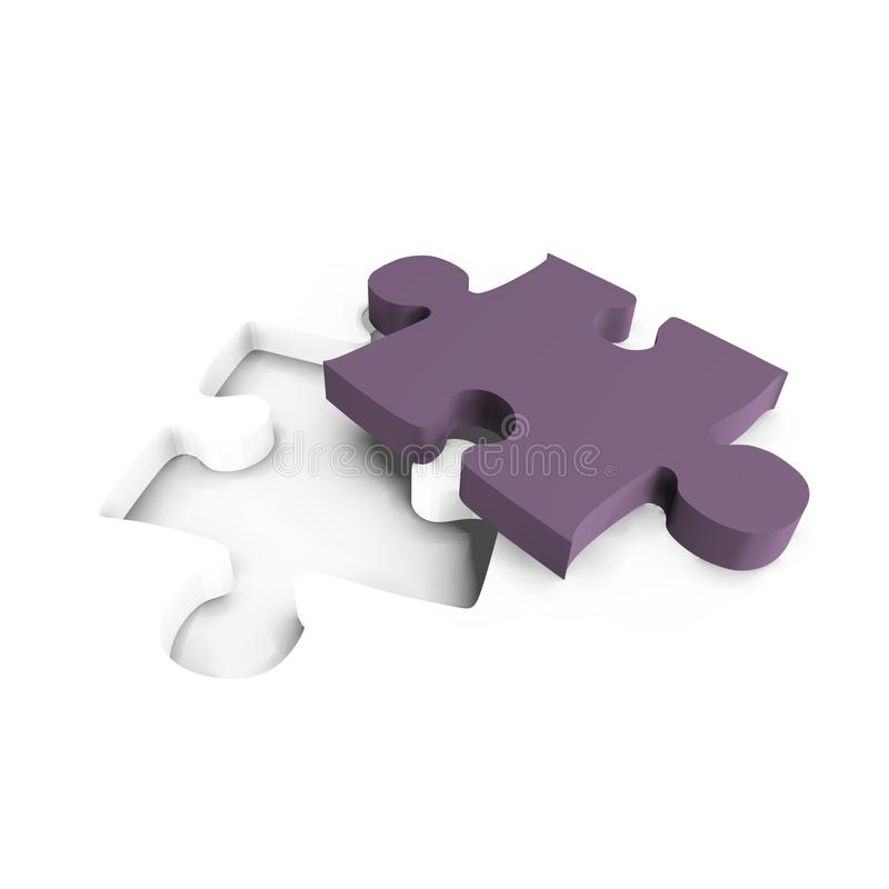 Partie pourprée de puzzle avec l'intervalle - une image 3d illustration libre de droits