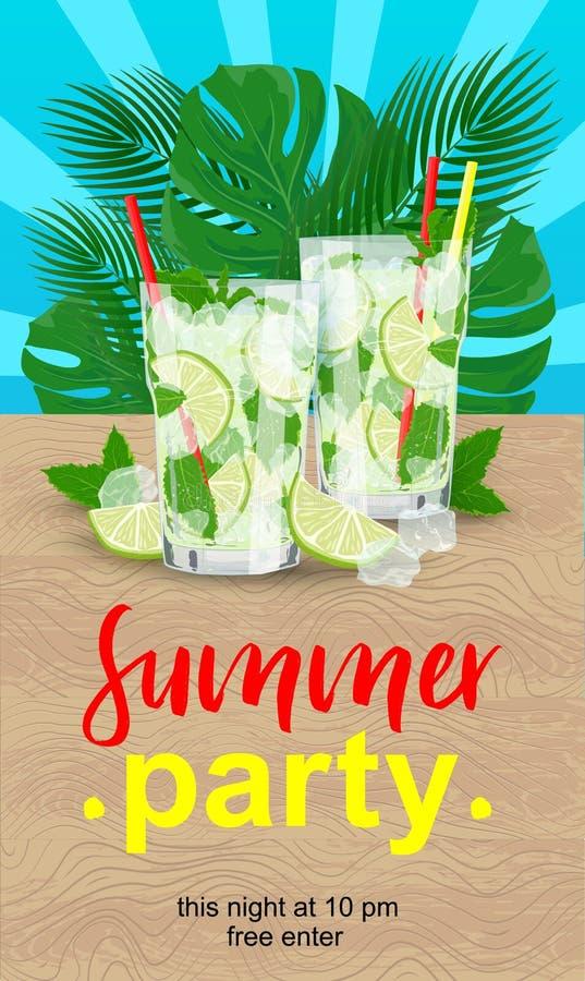 Partie prête d'été d'affiche de vecteur avec les cocktails frais illustration libre de droits