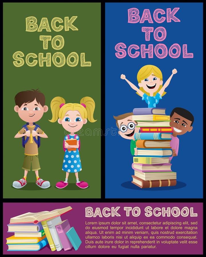 Partie réglée de bannière d'école illustration stock