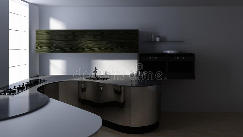 Partie supérieure du comptoir avec le cuiseur et évier dans la cuisine moderne illustration de vecteur