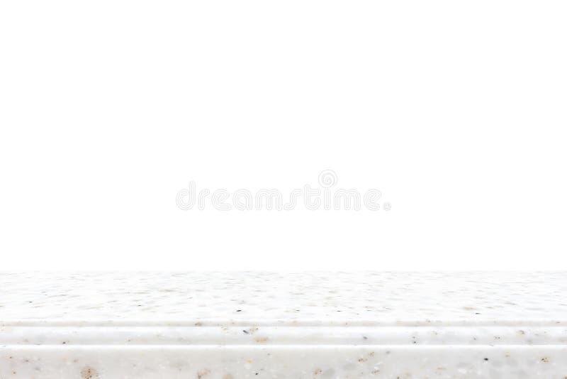 Partie supérieure du comptoir en pierre sur le fond blanc photos libres de droits