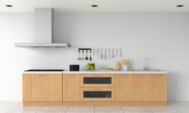 Partie supérieure du comptoir moderne de cuisine et fourneau d'induction électrique pour la maquette, rendu 3D illustration libre de droits