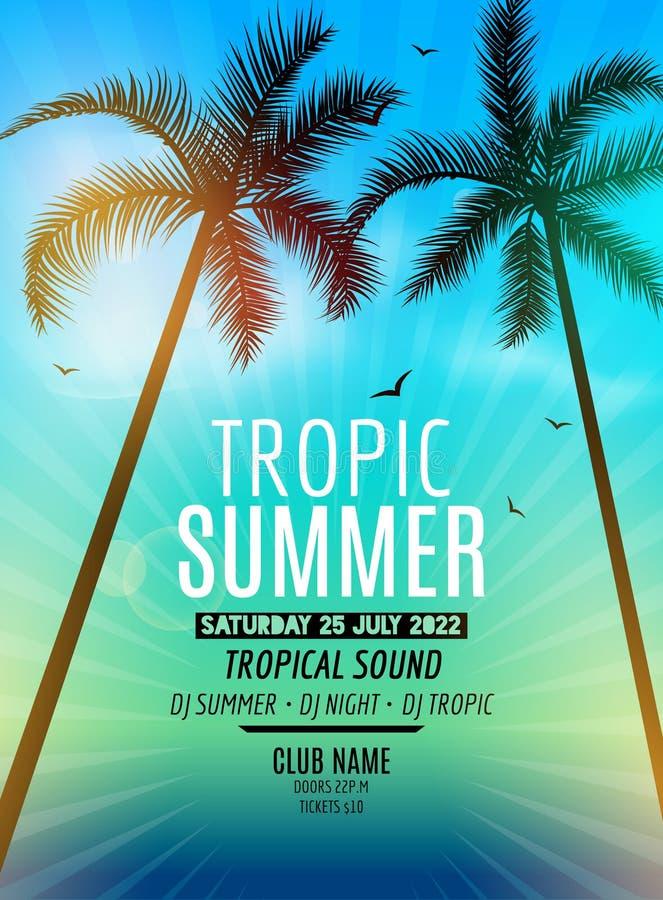 Partie tropicale de plage d'été Vacances et voyage d'été tropicaux Île exotique colorée de fond et de paume d'affiche tropicale illustration de vecteur