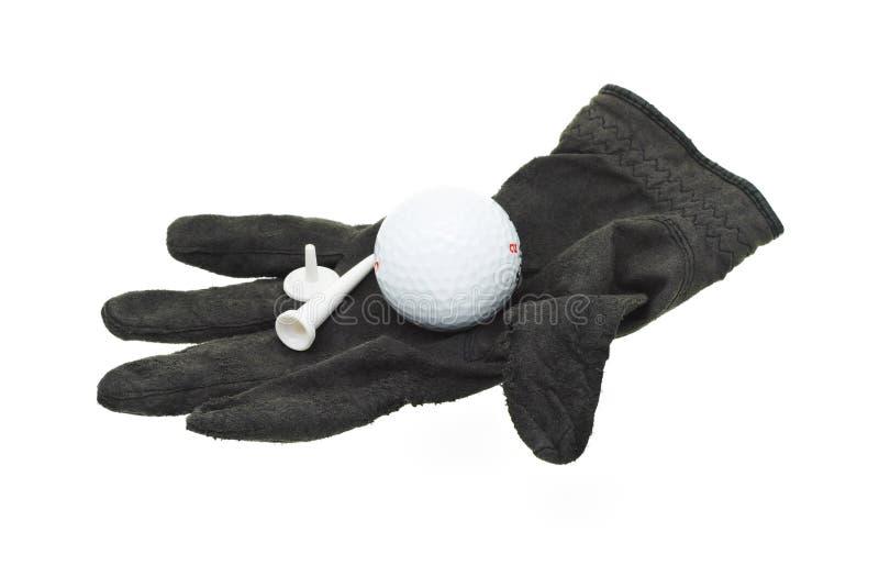 Partie utilisée et usée de gant de golf noir images stock