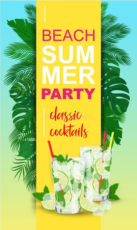 Partie verticale d'été de plage d'affiche de vecteur avec le cocktail de Mojito illustration libre de droits