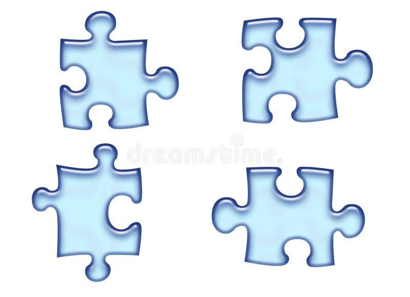 Parties bleues de puzzle illustration stock