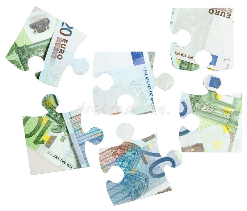 Parties d'euro puzzle de billets de banque image libre de droits