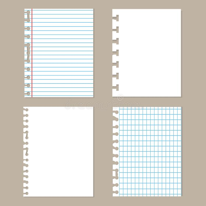 Parties de papier déchiré Ensemble de papier différent de carnet Feuilles d'école illustration stock