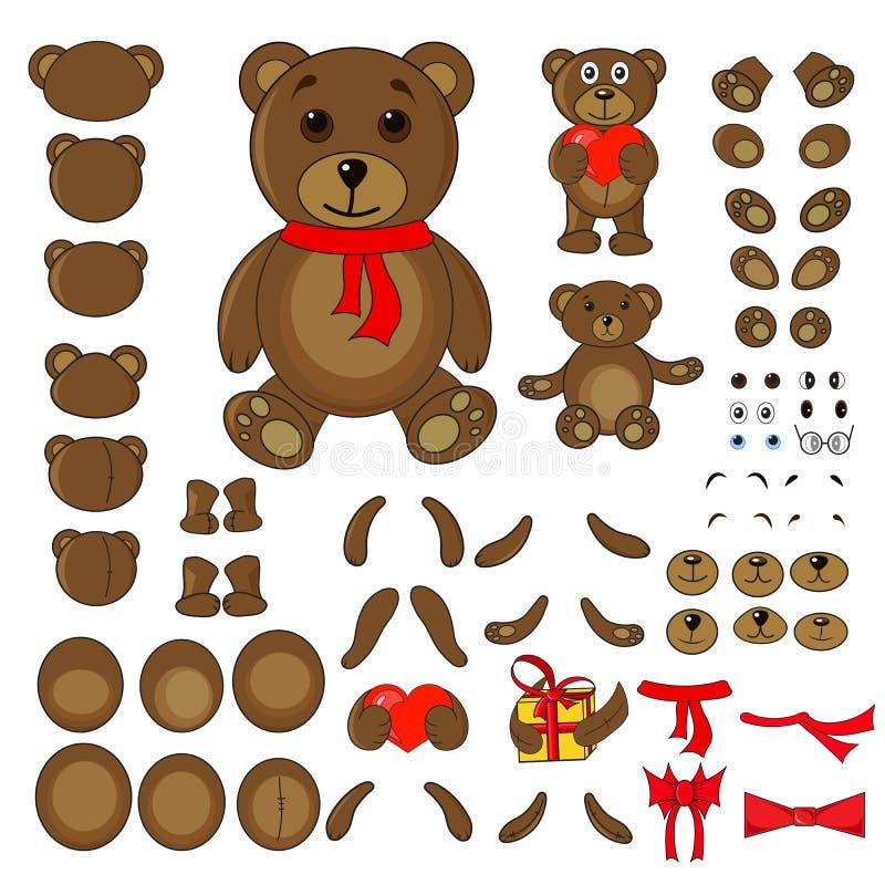 Parties du corps d'un ours dans le vecteur illustration libre de droits
